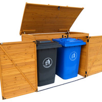 Solid Wood Horizontal Refuse Storage Shed - Rustic - Sheds - by Leisure Season Ltd.
