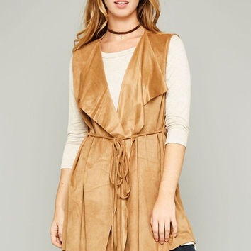 Apparel- Aiden Faux Suede Wrap Long Vests with Lapels