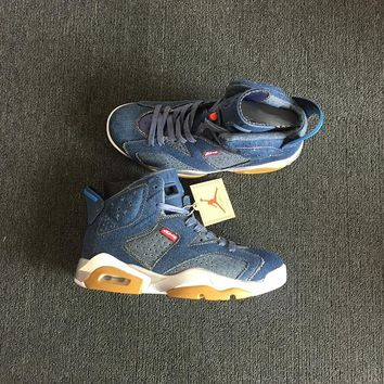 Levi's x Air Jordan 6 Color Blue Men Basketball Shoes Sneaker