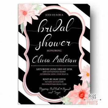 Black and White Bridal Shower Invite - Floral Bridal Shower Invitation - PRINTABLE Bridal Invitations - Black and White Bridal Invites