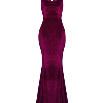 Burgundy Spaghetti Strap Backless Velvet Maxi Dress
