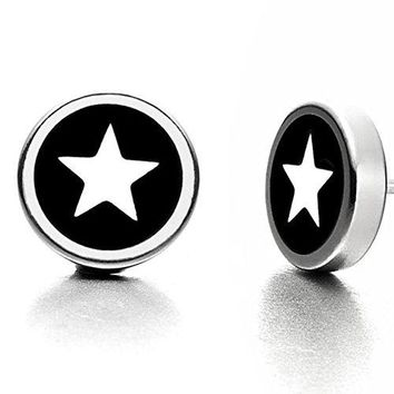 Black and White Star Graphic Stud Earrings for Men