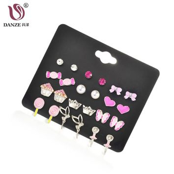 DANZE 12 Pairs Fashion Children/Kids Jewelry Candy Heart Butterfly Lollipops Angel Crown Mixed Stud Earrings Set For Girls Aros