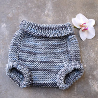 Diaper cover in gray merino wool, soft soaker, gray striped panties, bloomers