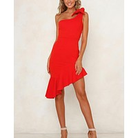 one shoulder bodycon dress with asymmetrical hem in red