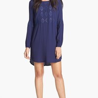 ASTR Embroidered Crepe Shift Dress | Nordstrom