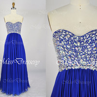 A Line Strapless Sweetheart with Beading Chiffon Royal Blue Prom Dresses Wedding Party Dresses, Evening Dresses