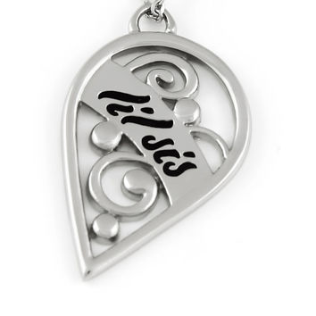 "Lil Sis Half Heart Necklace, Split Heart Sister Necklaces, Perfect Sister gift 18"" Chains Included"
