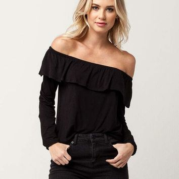 IVY & MAIN Off The Shoulder Flounce Womens Top