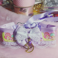 Kawaii Lolita Little Twin Stars Lavender Lace And Gold Moon Collar
