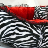 Black Red White Dog Bed Zebra Print and by DataDesignBoutique