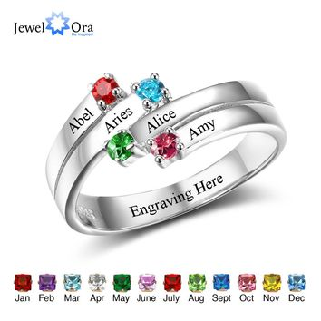 Anniversary Family Ring Engrave Names Custom 4 Birthstone Ring 925 Sterling Silver Commemoration Gift (JewelOra RI102507)