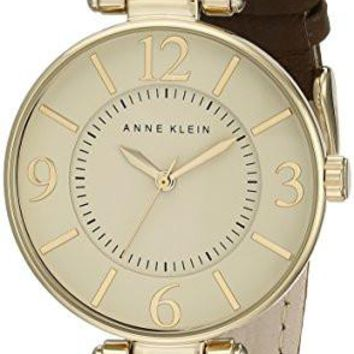 Women's Leather Strap Watch Anne Klein 109168IVBN Gold-Tone and Brown