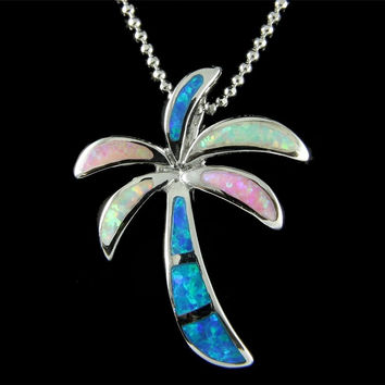 INLAY BLUE PINK WHITE TRICOLOR OPAL HAWAIIAN PALM TREE SLIDE PENDANT SILVER 925