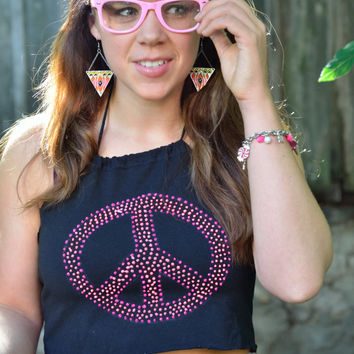 Neon Blacklight Fluorescent Pink Peace Sign Symbol Crop Top Shirt Handpainted Upcycled, Reworked by thriftalina