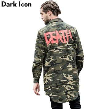 Camouflage Round Hemline Extended Shirt Men Long Sleeve Spring Street wear Letter Printed Como Hipster Shirt Men Hip hop Shirt