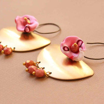 Big Chandelier Statement Earrings with Pastel Pink Flowers and Glass Beads - Urban, Tribal, Romantic Style