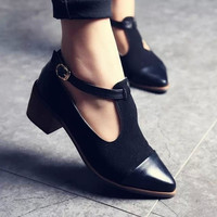 Women Pointed Toe Oxfords British Style Low Heels Patchwork Buckle  Casual Vintage Shoes