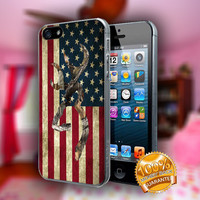 Browning Deer Camo American Flag - Print on hard plastic case for iPhone case. Select an option