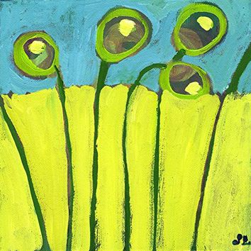 Wall Art Print entitled Growing In Green And Turquoise by Jennifer Lommers