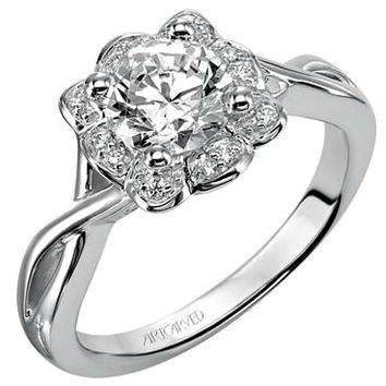 "Artcarved ""Monica"" Halo Diamond Engagement Ring Featuring Twisted Polished Band"