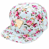 High Quality Women Floral Flower Snapback Hip-Hop Hat Flat Adjustable Baseball Cotton Cap caps Fashion 2017 Hot Sales for young