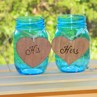 His & Hers Wooden Heart Set- Rustic Wooden Wedding Decoration Hearts