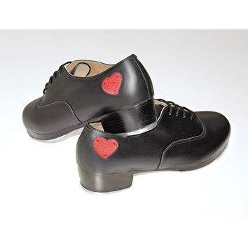So Danca TA805 Women's Professional Leather Tap Shoe With Rubber Sole and Red Heart