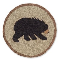 Vermont Bear Hooked Wool Chair Pads