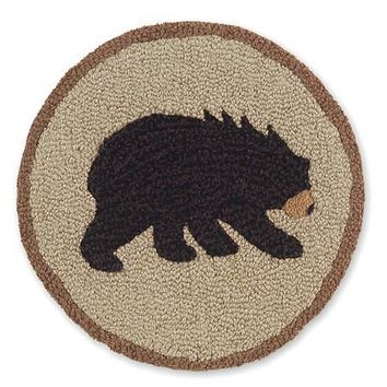 "Vermont Bear Hooked Wool Chair Pads 14"" in diameter"