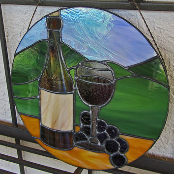 Wine Bottle and Glass Sun Catcher  ~ Wine Bottle Sun Catcher ~ Stained Glass Home Decor ~ Grapes Sun Catcher ~ Winery ~ Autumn Decoration
