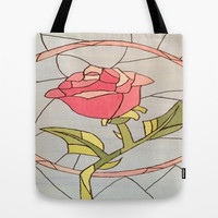 Stained Glass Window Rose Tote Bag by Sierra Christy Art