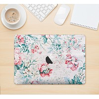 "The Coral & Blue Grunge Watercolor Floral Skin Kit for the 12"" Apple MacBook"