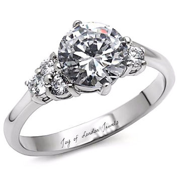 A Perfect 2CT Round Cut Floral Solitaire Russian Lab Diamond Engagement Wedding Ring