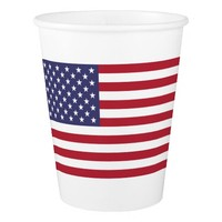Patriotic paper cup with flag of USA
