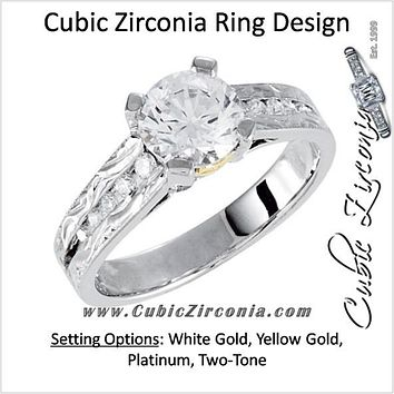 Cubic Zirconia Engagement Ring- The Krista (Round 1.0 CT Tapered Channel Setting with Hand-Engraved Band and Two-Tone Metal Color)