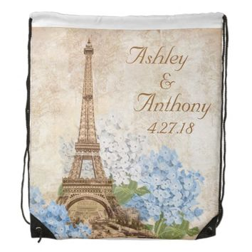 Paris Blue Hydrangea Wedding Drawstring Backpack