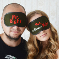 Mr. Right and Mrs. Always Right Sleep Mask Felt Sleep Eye Mask His and Hers Sleeping Eyemask Embroidery Handmade Gift Accessories m1213