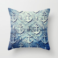 Denim anchors pattern, nautical rockabilly style. Throw Pillow by Kristy Patterson Design