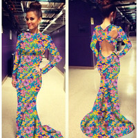 Floral Print Long Sleeve Back Cutout Fishtail Bodycon Maxi Dress