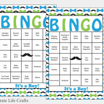 100 Little Man Baby Shower Bingo Cards -  Prefilled Bingo Cards - Boy Baby Shower Game - Blue Green - Printable Download - B1001