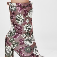 Cupid Multi Floral Heeled Ankle Boot
