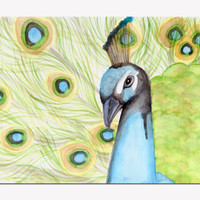 Peacock Fine Art Print , Watercolor Painting , Wall Art , Home Decor , Feathers , Aqua