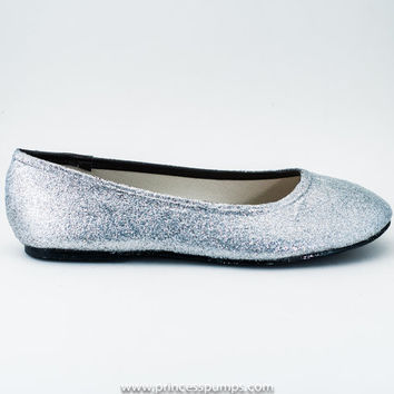 Silver Glitter Ballet Flat Slipper Custom Shoes