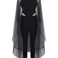 Honey Couture LIVI Black Cape Sleeve Detail Pant Set