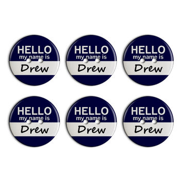 Drew Hello My Name Is Plastic Resin Button Set of 6