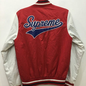 April Sale Vintage 90s Supreme Varsity Made In Canada Jacket Sweater Snap Button Bape Jacket Hip Hop Size M #J118