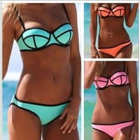 The new 2014 color matching bikini steel bracket together women's bathing suit sexy swimsuit fission S M L-in Bikinis Set from Apparel & Accessories on Aliexpress.com | Alibaba Group