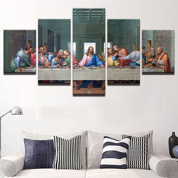 Canvas Poster Wall Art Framework 5 Panel Jesus Abstract Painting Modular HD Print Last Supper Pictures Modular Living Room Decor