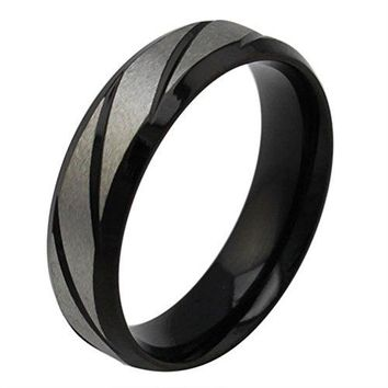 6mm Titanium Stainless Steel Wedding Ring Engagement Band Matte Finish Center Polished Beveled Edge